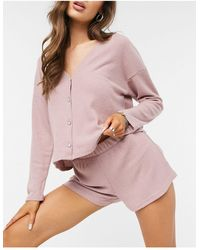 New Look Ribbed Lounge Cardi And Shorts Set - Pink