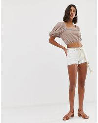 Free People Sofia Raw Hem Denim Shorts - White