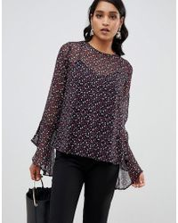 Y.A.S Yas Printed Blouse With Fluted Sleeve Detail - Multicolor