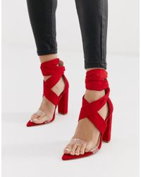 b2557c720f0 Public Desire - Jordy Bright Red Tie Up Block Heeled Sandals - Lyst