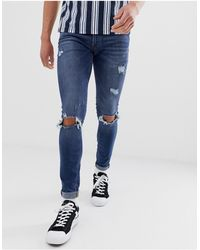 Jack & Jones Intelligence Spray On Skinny Jeans With Rip Detail - Blue