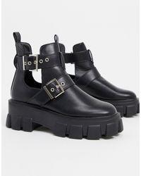 Truffle Collection Черные Байкерские Ботинки На Массивной Подошве -черный