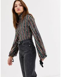 Free People Midnight City - Top Met Regenboog-lovertjes - Zwart