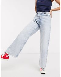 Monki Yoko - Cropped Jeans Met Wijde Pijpen En Onafgewerkte Zoom - Meerkleurig
