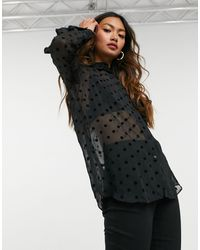 Stradivarius Sheer Shirt With Polka Dot - Black