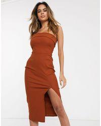 Vesper - Коричневое Облегающее Платье Бандо Миди -коричневый - Lyst