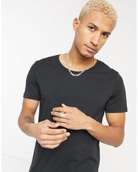 ASOS - T-shirt nera con scollo rotondo - Lyst
