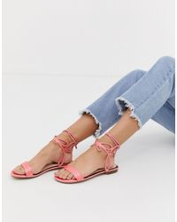 Miss Selfridge Flat Sandals With Ankle Detail - Pink