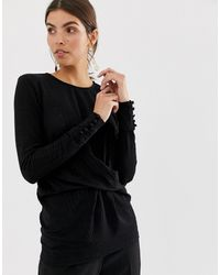 Y.A.S Gathered Long Sleeved Top - Black