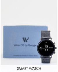 Skagen - Skt5105 Falster 2 Smoke Mesh Smartwatch With Heart Rate Tracker - Lyst