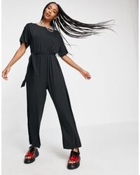 Noisy May Tie Waist Jumpsuit - Black