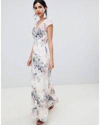 Little Mistress - Button Through Maxi Dress In Romantic Floral Print - Lyst