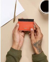 Paul Costelloe - Leather Card Holder In Brown & Orange - Lyst