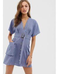 Und Taschen Gürtel Mit Tief Blau Kleid Ausgeschnittenes PiTOXuZk