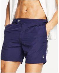 Polo Ralph Lauren Темно-синие Шорты Для Плавания С Белыми Полосками По Бокам И Логотипом Monaco-темно-синий