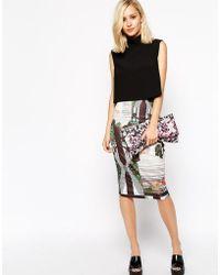 River Island Orchid Print Pencil Skirt - Black