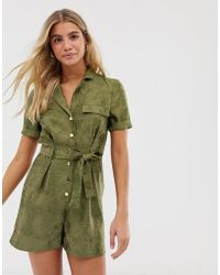 Miss Selfridge Jacquard Utility Playsuit In Khaki - Green