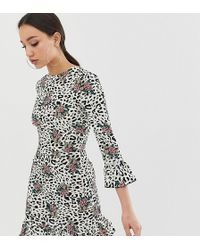 John Zack Fluted Sleeve Tea Dress In Floral Leopard - Multicolour