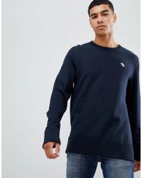 Abercrombie & Fitch - Icon Logo Print Crew Neck Sweatshirt In Navy - Lyst