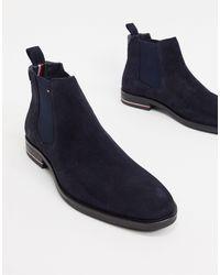 Tommy Hilfiger Замшевые Ботинки Челси Темно-синего Цвета С Логотипом -темно-синий