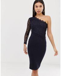 AX Paris Кружевное Облегающее Платье На Одно Плечо -темно-синий