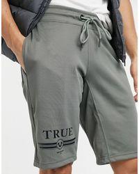 True Religion – True Retro – Shorts aus Jersey - Grün