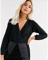 New Look Wrap Long Sleeved Plisse Body - Black