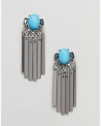 ASOS - Design Jewel Stone And Metal Plate Tassel Earrings - Lyst