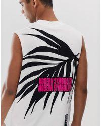 DIESEL Camiseta blanca sin mangas con logo en el pecho T-Yoshimi - Blanco