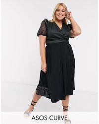 ASOS Asos Design Curve Midi Skirt With Box Pleats - Black