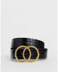 Miss Selfridge Belt With Double Circle Buckle - Black