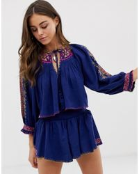 Free People Cherry Bomb Crop Top And Shorts Set - Blue
