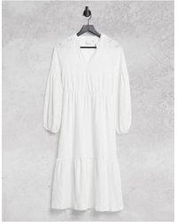 Vila Broderie Midi Dress With Balloon Sleeves - White