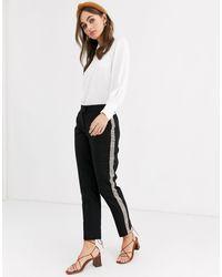Pimkie Pantalones tapered con cuadros en el lateral en negro