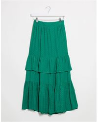 Vila Textured Maxi Skirt With Tiering - Green