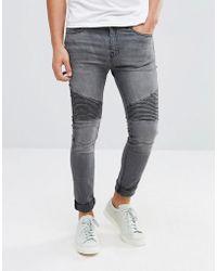 Stradivarius - Skinny Jeans With Biker Detail In Grey - Lyst