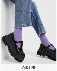 ASOS Черные Туфли На Плоской Массивной Подошве Для Широкой Стопы С Ремешком И Эффектом Крокодиловой Кожи - Черный