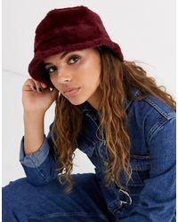 ASOS Fluffy Bucket Hat-red - Multicolor