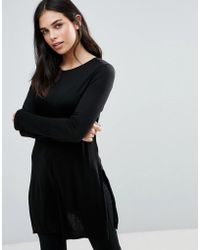 Dex - Long Sleeve Skater Jersey Dress - Lyst
