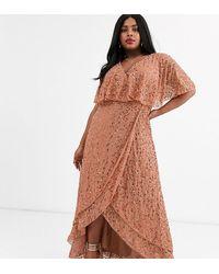 ASOS Asos Design Curve Maxi Dress With Cape Back And Dip Hem - Brown