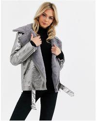 Glamorous Metallic Aviator Jacket With Faux Fur Lining