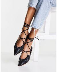 ASOS Listen Tie Leg Ballet Flats - Black