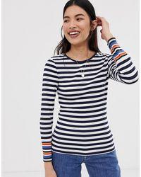 ONLY – Bella – Langärmliges Shirt mit Streifen - Blau