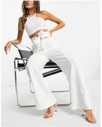 Club L London Wide Leg Slouchy Trouser With Belt Co Ord - White