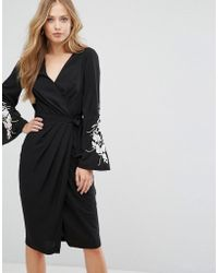 Forever New - Wrap Front Midi Dress With Embroidered Sleeves - Lyst