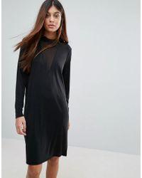 Pieces - Hane Long Sleeved Mesh V Neck Dress - Lyst