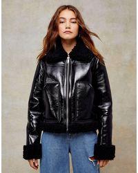 TOPSHOP Black Pu Vinyl Biker Jacket