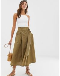 ASOS Wrap Midi Skirt With D-ring And Pockets - Green