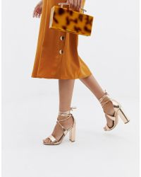 Glamorous - Rose Gold Ankle Tie Block Heeled Sandals - Lyst