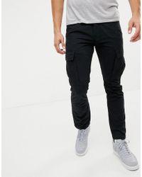 Produkt Cargo Trousers In Slim Fit - Black